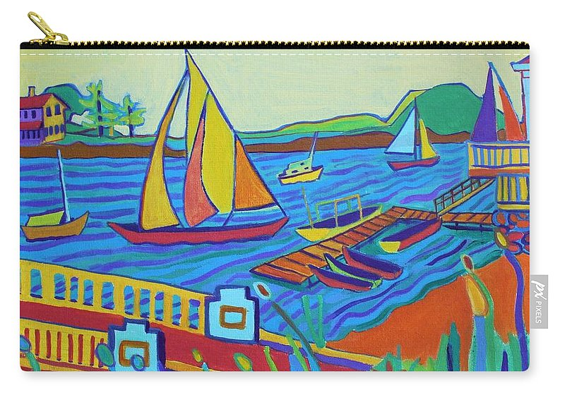 Landscape Carry-all Pouch featuring the painting Sailing at Tucks Point Manchester by the sea by Debra Bretton Robinson