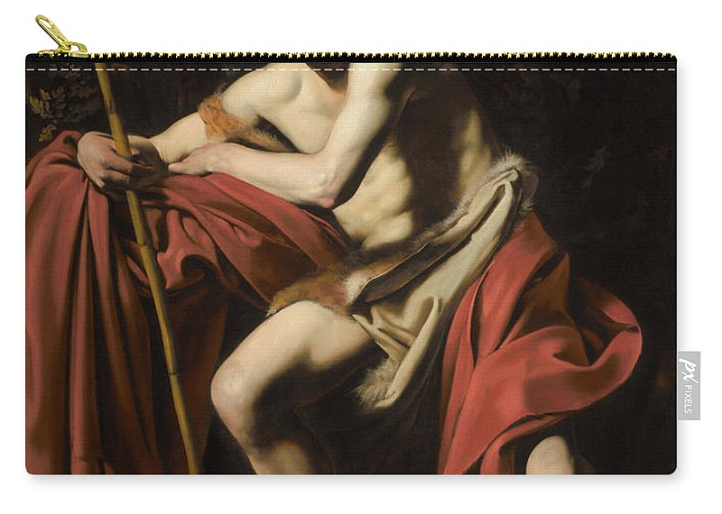 Michelangelo Merisi (caravaggio) Carry-all Pouch featuring the painting Saint John The Baptist In The Wilderness       by Michelangelo Merisi Caravaggio