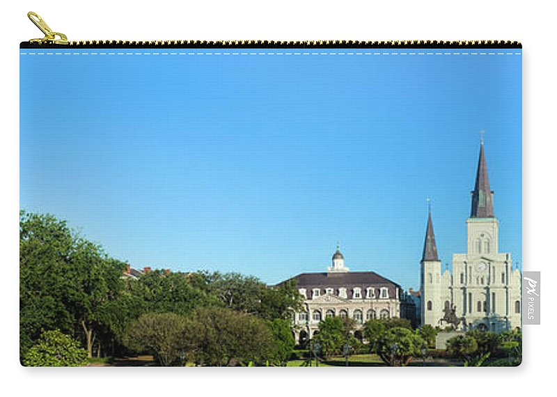 Panoramic Carry-all Pouch featuring the photograph Saint Louis Cathedral Panorama by Drnadig