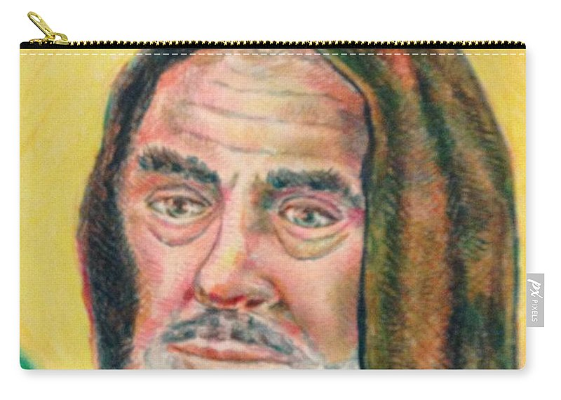 Saint Carry-all Pouch featuring the drawing Saint Pio by Joseph Kushnir