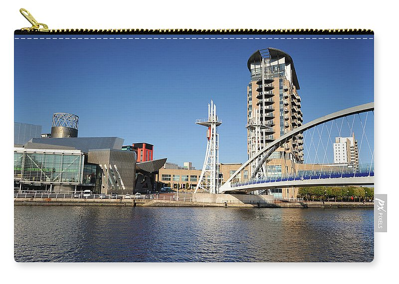 London Millennium Footbridge Carry-all Pouch featuring the photograph Salford Quays, Manchester by Chrishepburn