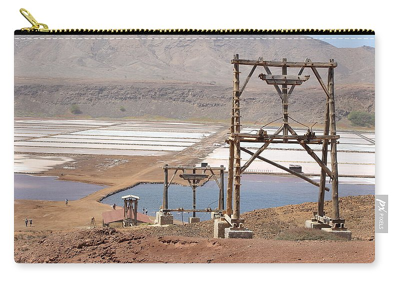 Salt Carry-all Pouch featuring the photograph Salt Pans And 200 Yr Old Cable Car Winches by Dave Philp
