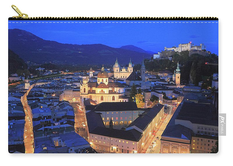 Architecture Carry-all Pouch featuring the photograph Salzburg At Night Austria by Ivan Pendjakov