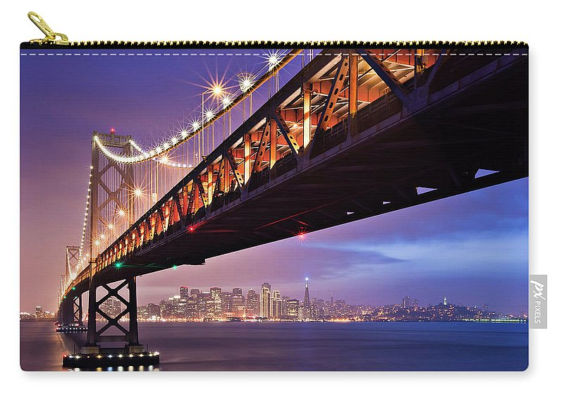 Tranquility Carry-all Pouch featuring the photograph San Francisco Bay Bridge by Photo By Mike Shaw