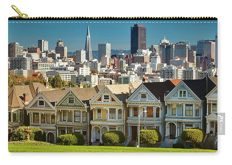 San Francisco Carry-all Pouch featuring the photograph San Francisco Postcard Row Skyline by Pgiam