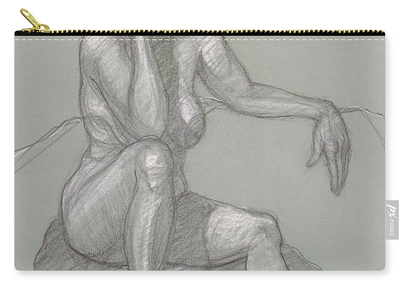 Realism Carry-all Pouch featuring the drawing Sandra Seated 7 by Donelli DiMaria