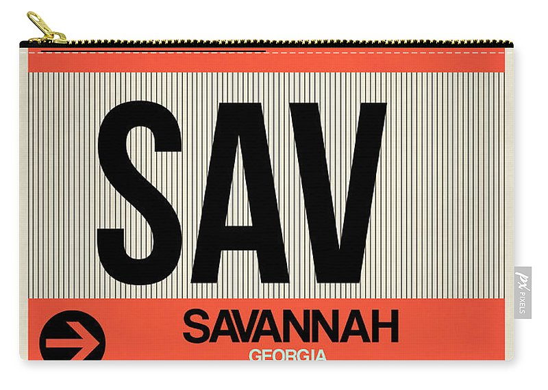 Vacation Carry-all Pouch featuring the digital art Sav Savannah Luggage Tag I by Naxart Studio