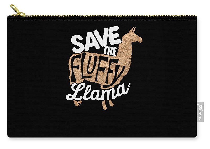 Fluffy-llama Carry-all Pouch featuring the digital art Save The Fluffy Llama by Passion Loft