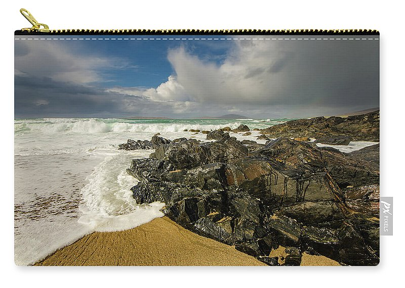 Scarista Carry-all Pouch featuring the mixed media Scarista Beach by Smart Aviation