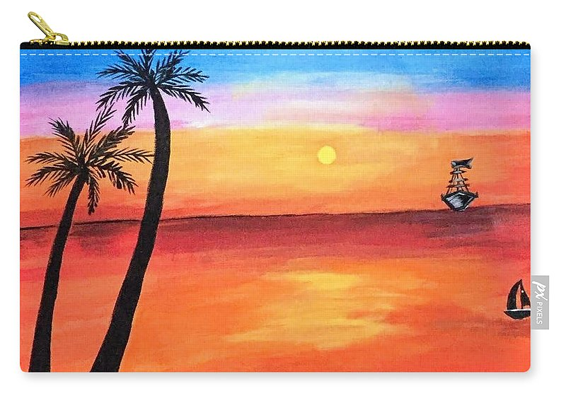 Canvas Carry-all Pouch featuring the painting Scenary by Aswini Moraikat Surendran