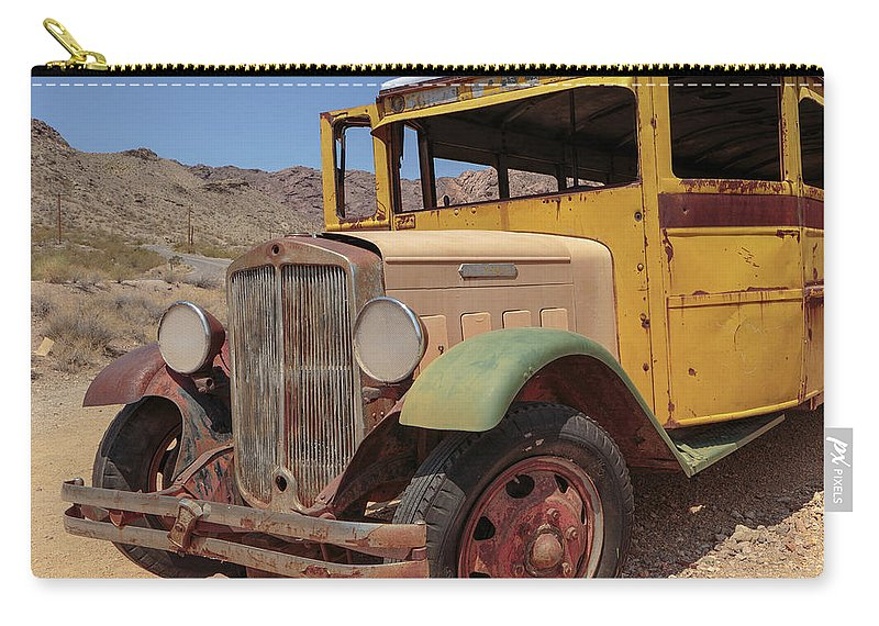 School Bus Carry-all Pouch featuring the photograph School Is Out For Summer Square by Edward Fielding