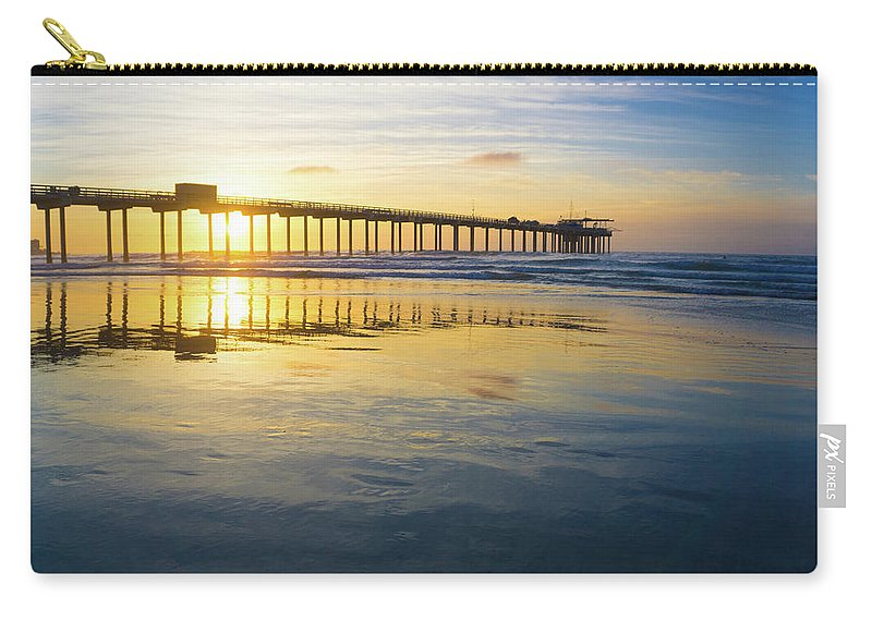 Surf Carry-all Pouch featuring the photograph Scripps Pier Golden Hour 1 by Richard A Brown