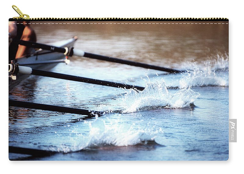 Sport Rowing Carry-all Pouch featuring the photograph Sculling Team Rowing On Water by Robert Llewellyn