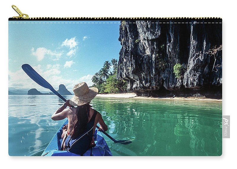 Southeast Asia Carry-all Pouch featuring the photograph Sea Kayaking by John Seaton Callahan