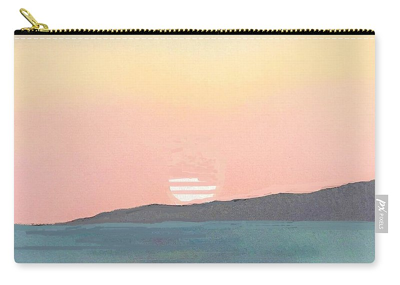 Sunset Carry-all Pouch featuring the mixed media Sea Sunset by Vesna Antic