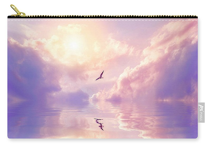 Fairy Tale Carry-all Pouch featuring the photograph Seagull And Violet Clouds by Jane Khomi