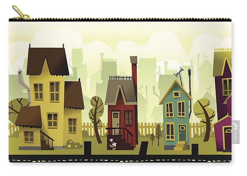 Grass Carry-all Pouch featuring the digital art Seamless Neighborhood by Doodlemachine