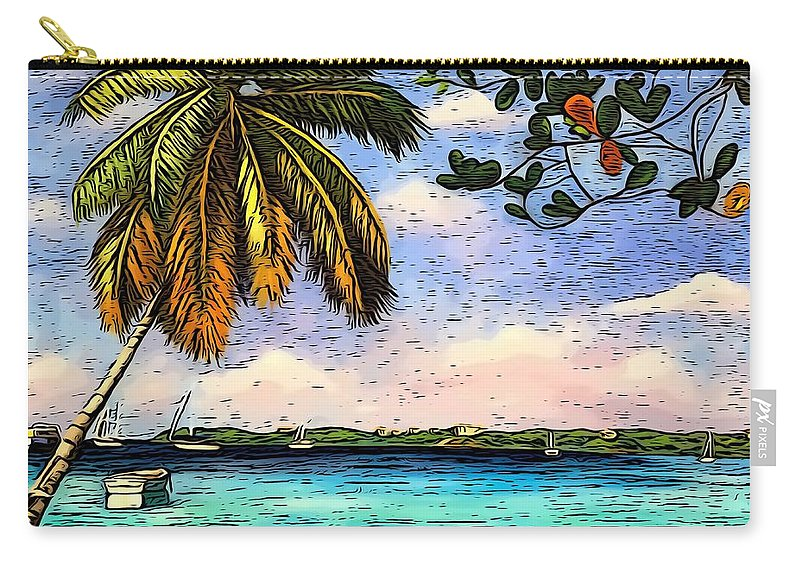 Coconut Tree Carry-all Pouch featuring the digital art Seascape Beach by Laura Forde