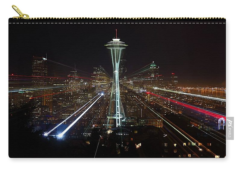 Laser Carry-all Pouch featuring the photograph Seattle Skyline Laser Show by Jonkman Photography