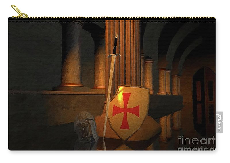 Knight Carry-all Pouch featuring the painting Secret Of The Knights Templar by Sarah Kirk