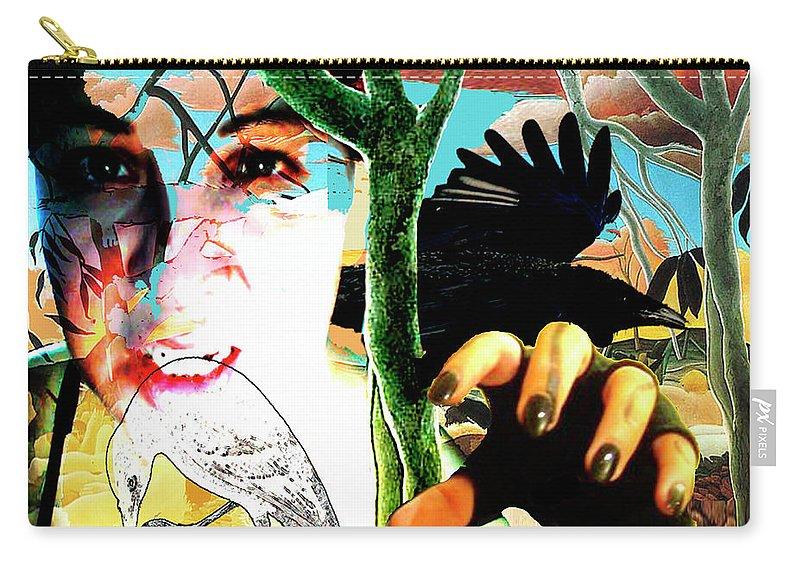 Self Portrait Carry-all Pouch featuring the digital art Self Portrait Unafraid by Lee Wilde-Portraits