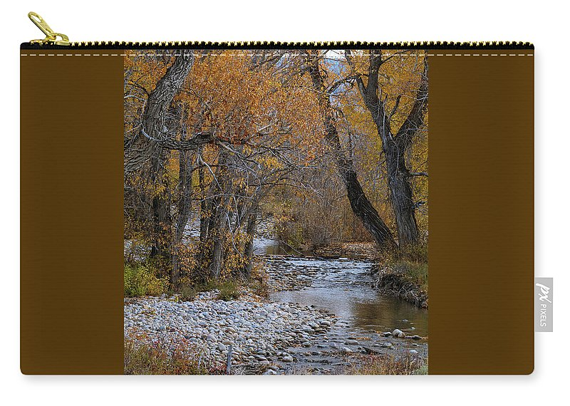Grand Teton National Park Carry-all Pouch featuring the photograph Serene Stream In Autumn by Catherine Avilez