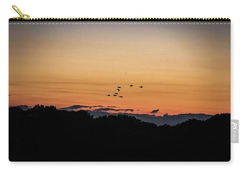 Lake Birds Geese Nature Landscape Lake Sunset Summer Night Evening Carry-all Pouch featuring the photograph Serenity Now by Chris Gavitt