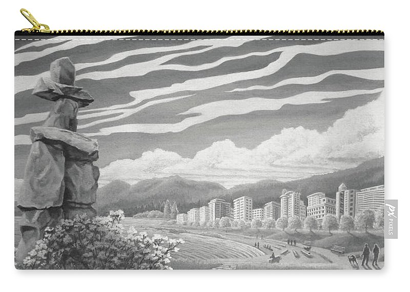 Painting Carry-all Pouch featuring the painting Shades Of Grey by Kim Hunter