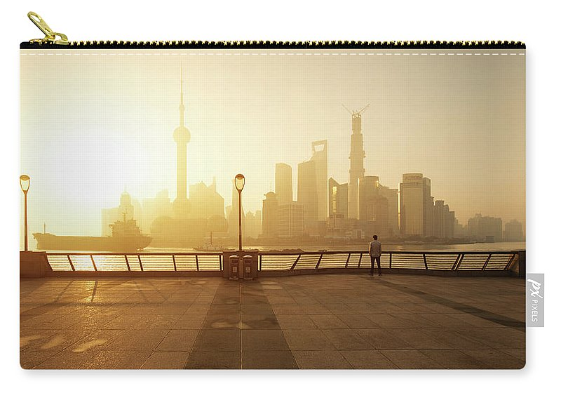 Tranquility Carry-all Pouch featuring the photograph Shanghai Sunrise At Bund With Skyline by Spreephoto.de