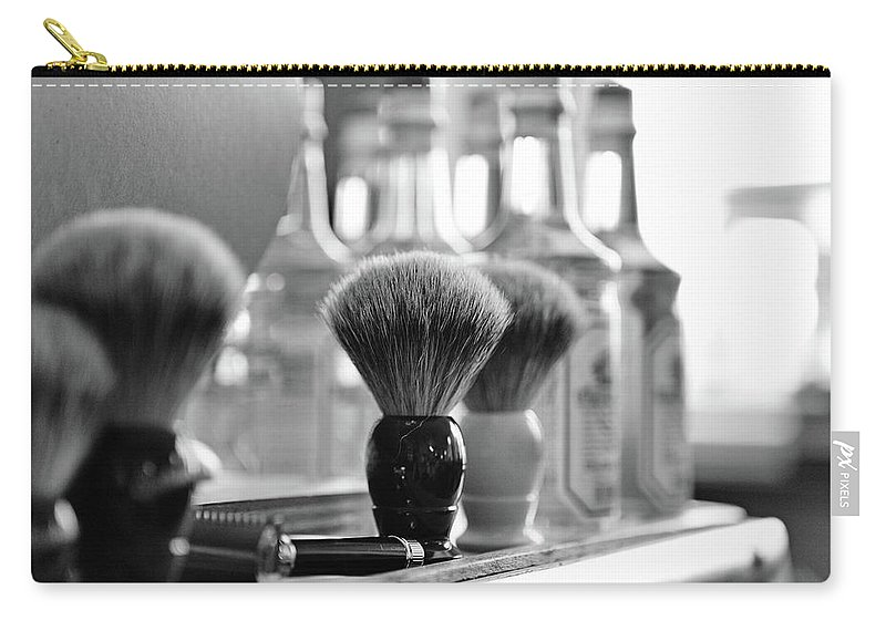 Office Carry-all Pouch featuring the photograph Shaving Brushes At Barbershop by Lorado