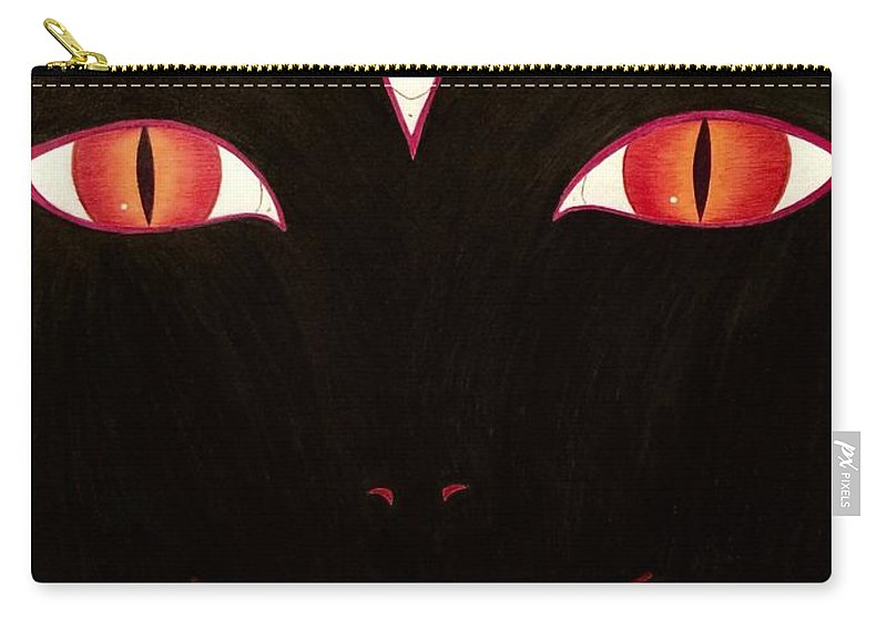 Three Eyes Carry-all Pouch featuring the drawing She Who Watches by Anastacia Campos
