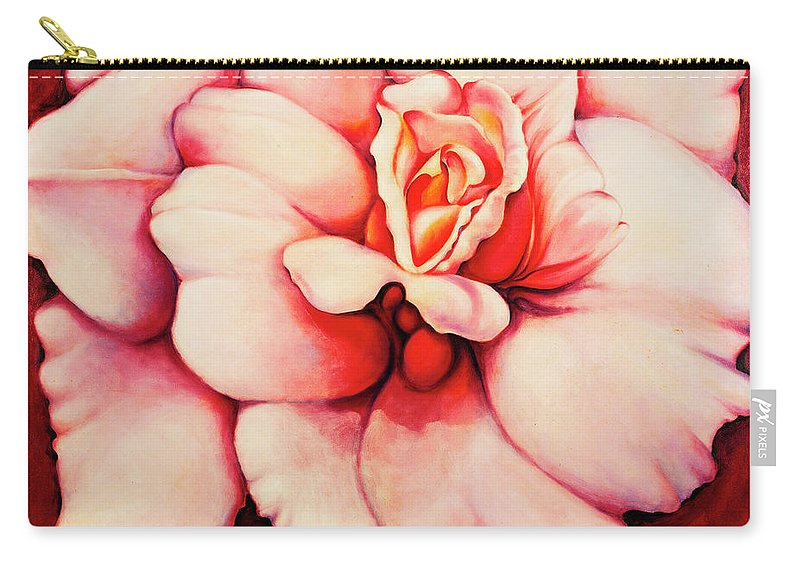 Blooms.large Rose Carry-all Pouch featuring the painting Sheer Bliss by Jordana Sands