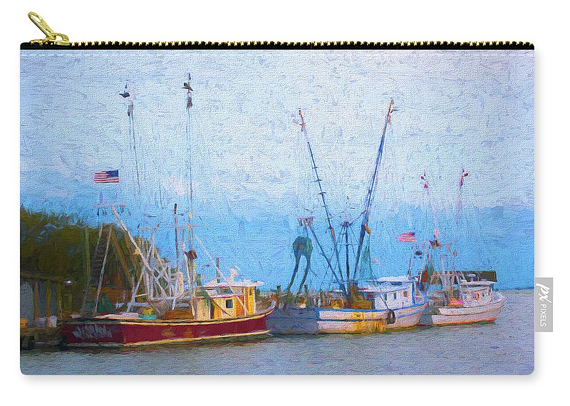 Ocean Carry-all Pouch featuring the digital art Shem Creek Boats V by Jon Glaser