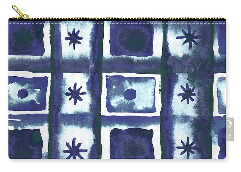 Shibori Carry-all Pouch featuring the mixed media Shibori Box Pattern I by Elizabeth Medley