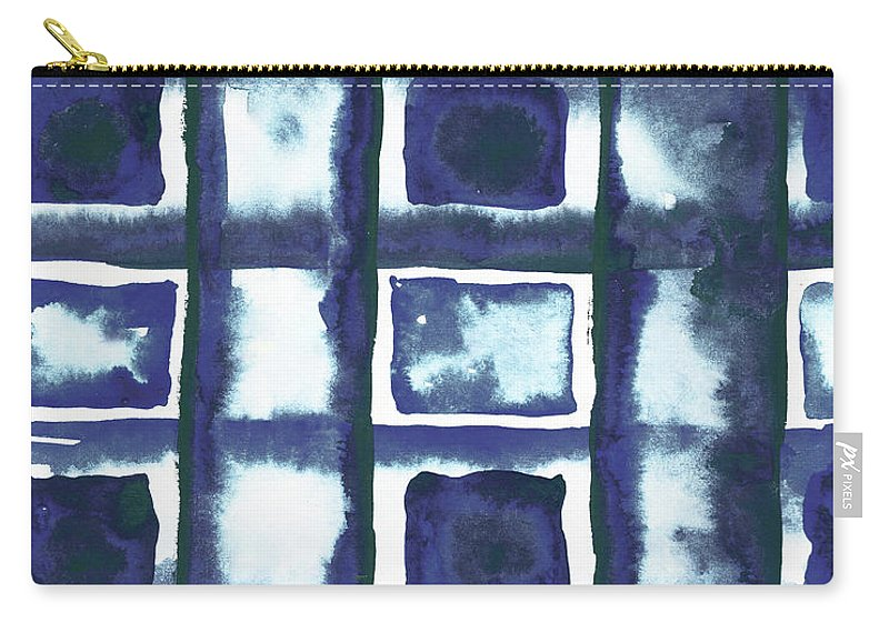 Shibori Carry-all Pouch featuring the mixed media Shibori Box Pattern II by Elizabeth Medley