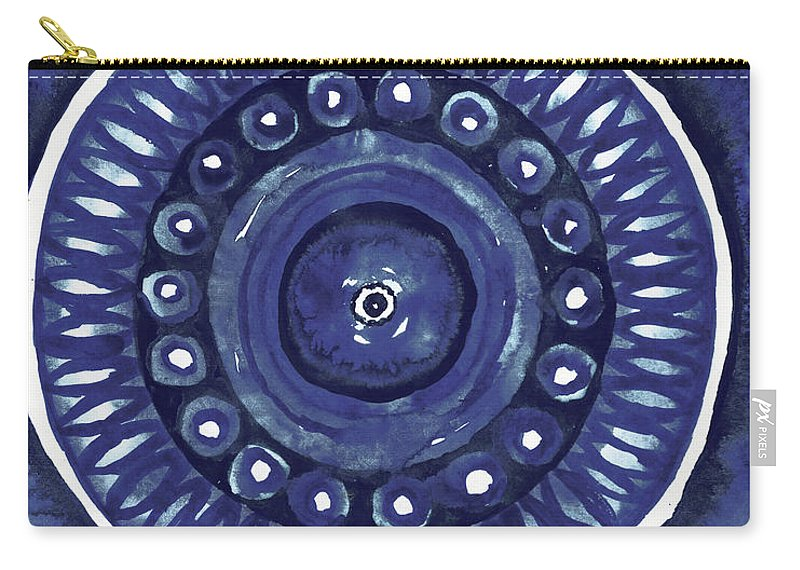 Shibori Carry-all Pouch featuring the mixed media Shibori Circle II by Elizabeth Medley