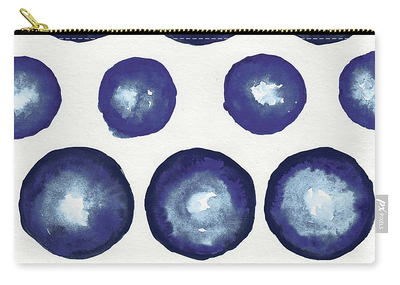 Shibori Carry-all Pouch featuring the mixed media Shibori Dots by Elizabeth Medley