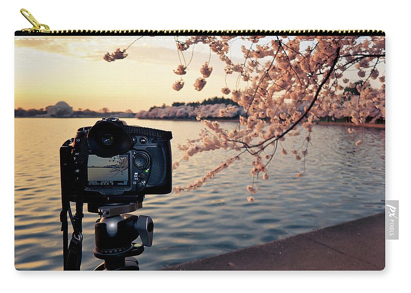 Tidal Basin Carry-all Pouch featuring the photograph Shooting Cherry Blossoms In Washington by Camrocker