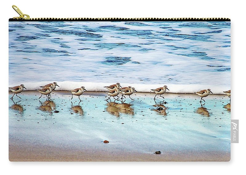 Animal Themes Carry-all Pouch featuring the photograph Shorebirds by Vanessa Mccauley
