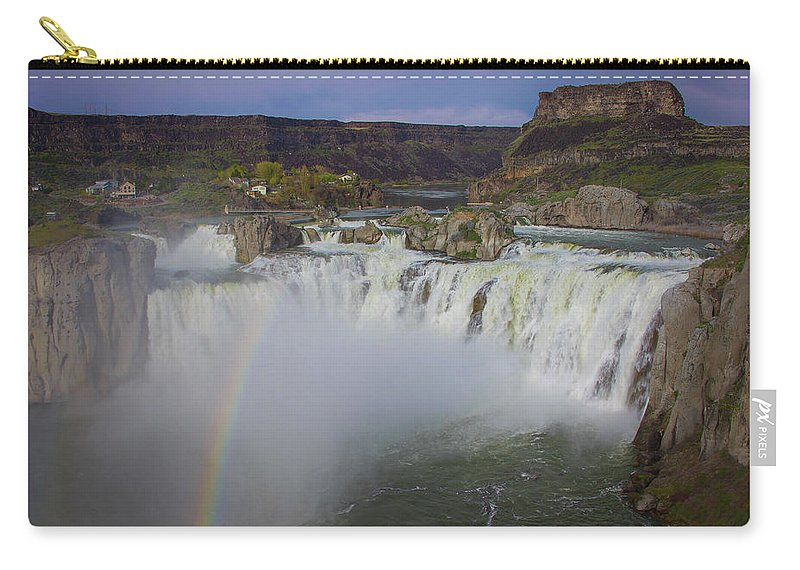Carry-all Pouch featuring the photograph Shoshone Falls Rainbow by Dan Kinghorn