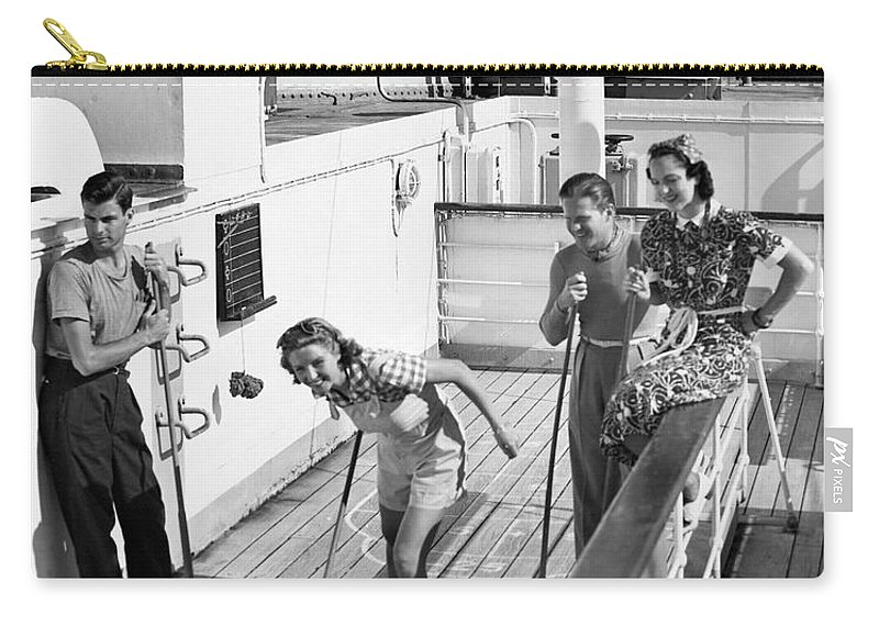Heterosexual Couple Carry-all Pouch featuring the photograph Shuffleboard Players by George Marks