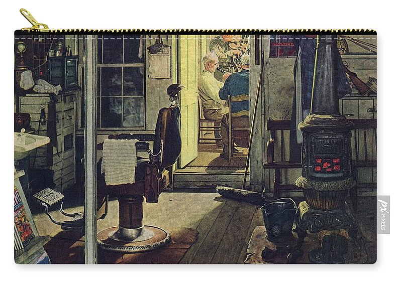 Barbers Carry-all Pouch featuring the drawing Shuffleton's Barbershop by Norman Rockwell