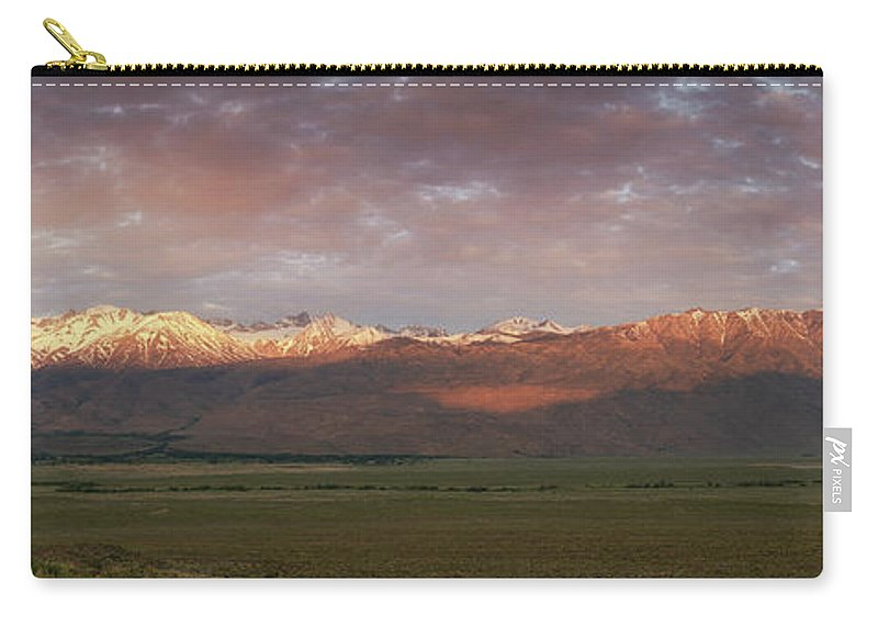 Owens Valley Carry-all Pouch featuring the photograph Sierra Nevada Mountain Range Panorama by Michael Ver Sprill