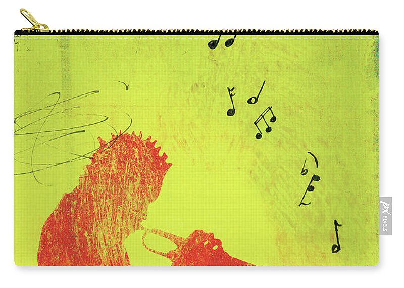 One Man Only Carry-all Pouch featuring the digital art Silhouette Of Trumpet Player by Darren Hopes