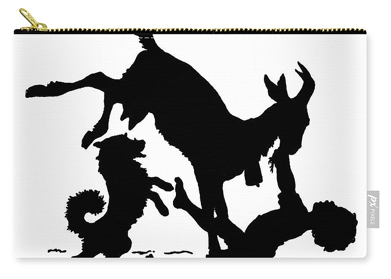 Pet Carry-all Pouch featuring the drawing Silhouette With A Boy, Goat And A Dog By Paul Konewka by Paul Konewka
