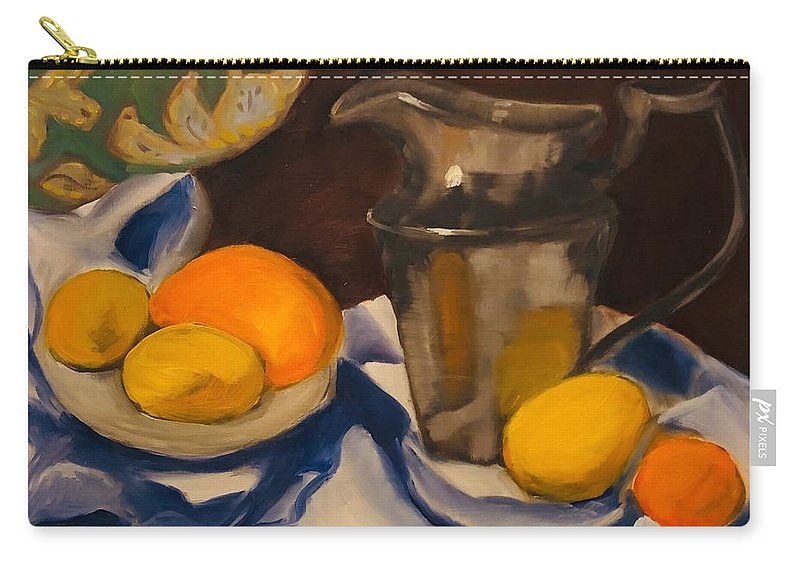 Still Life Carry-all Pouch featuring the painting Silver Pitcher by Angela Pierce