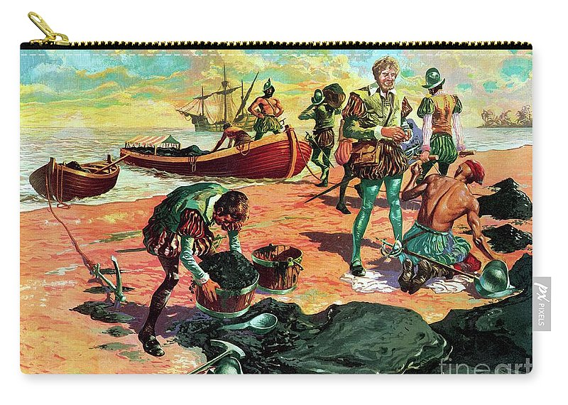 Ships Carry-all Pouch featuring the painting Sir Walter Raleigh In Trinidad Examining Pitch by Jose Ortiz