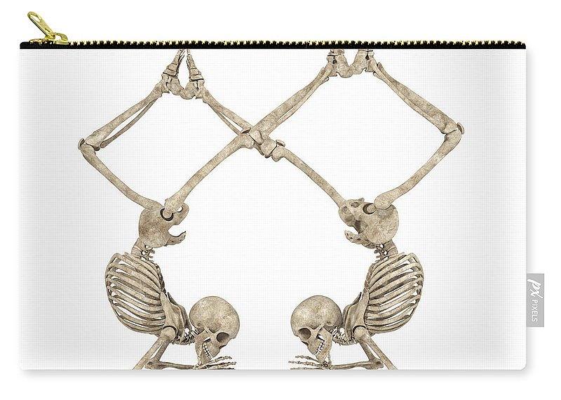 Skeleton Carry-all Pouch featuring the digital art Skeleton Yoga 002 by Betsy Knapp