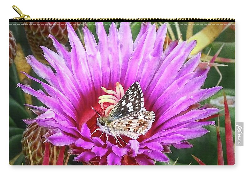 Skipper Carry-all Pouch featuring the photograph Skipper On Cactus Bloom by Kathy Jamieson