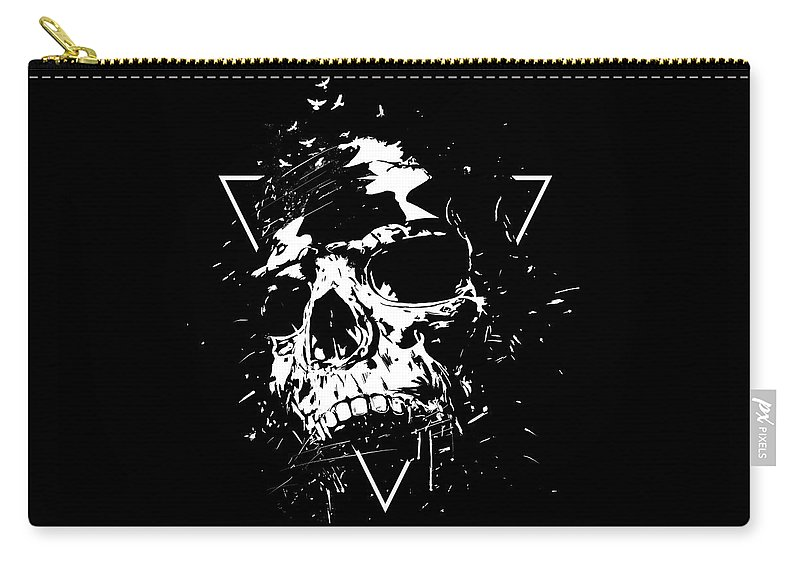 Skull Carry-all Pouch featuring the mixed media Skull X II by Balazs Solti